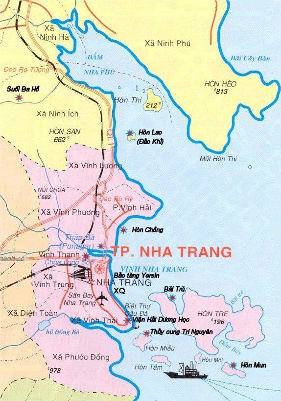 Bản đồ du lịch tỉnh Khánh Hòa.