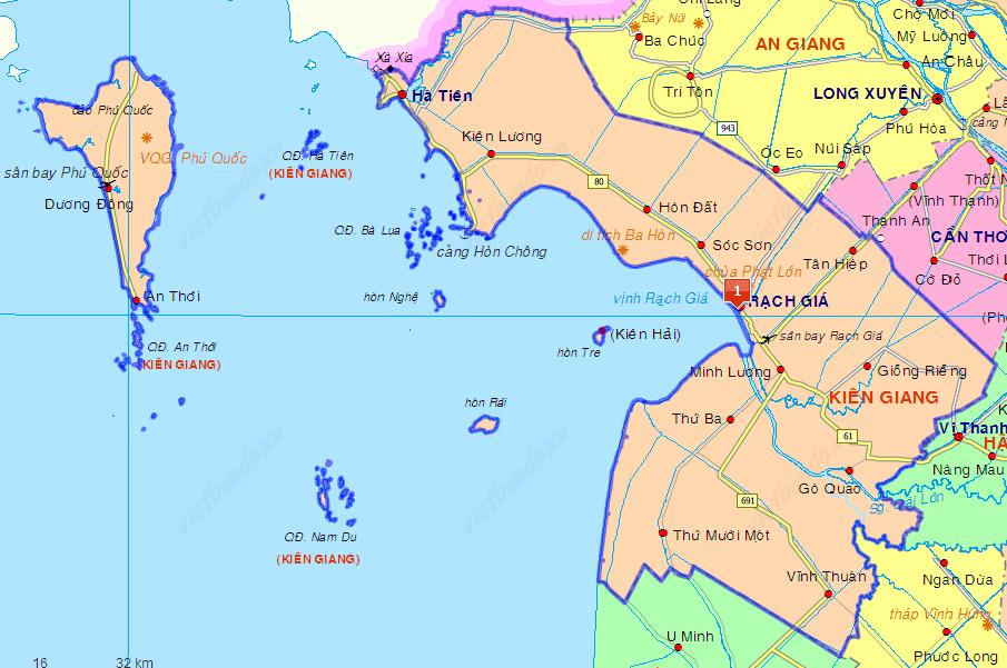 Bản đồ du lịch tỉnh Kiên Giang.
