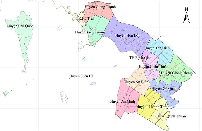 Bản đồ hành chính tỉnh Kiên Giang.
