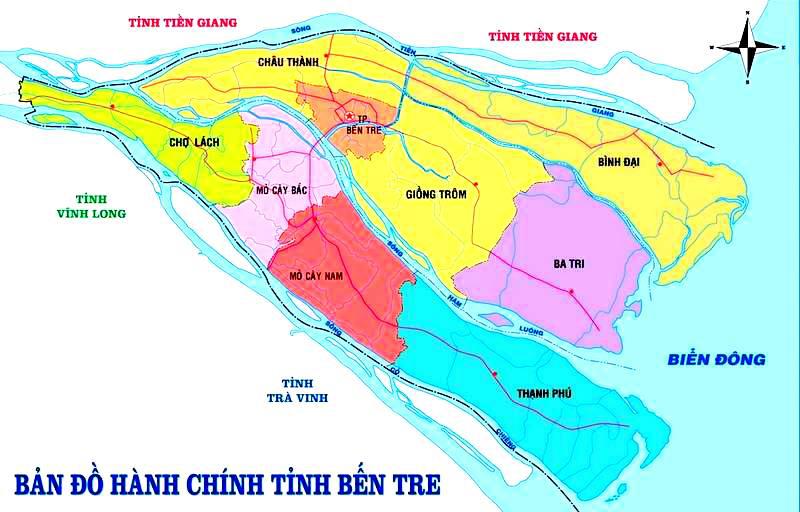 Bản đồ du lịch và hành chính tỉnh Bến Tre online chính xác nhất 1
