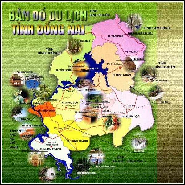 bản đồ du lịch Đồng Nai