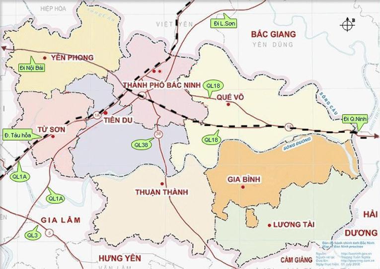 bản đồ du lịch bắc ninh