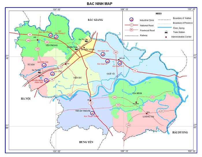 bản đồ hành chính bắc ninh
