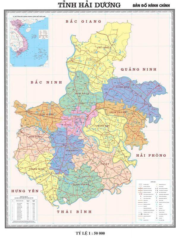 Bản đồ du lịch và hành chính tỉnh Hải Dương vừa mới cập nhật 2019 1
