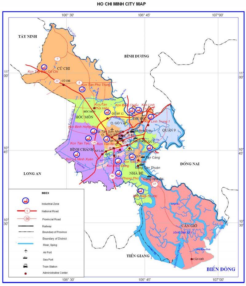 Bản đồ du lịch và hành chính tỉnh Hồ Chí Minh (TP) online chính xác nhất 1