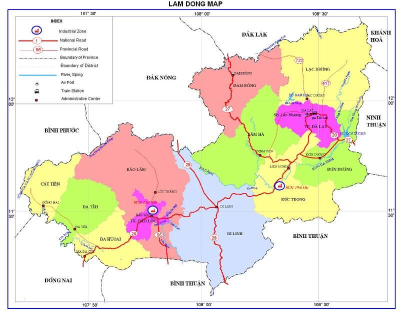 bản đồ hành chính lâm đồng