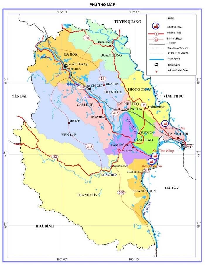 bản đồ hành chính tỉnh phú thọ