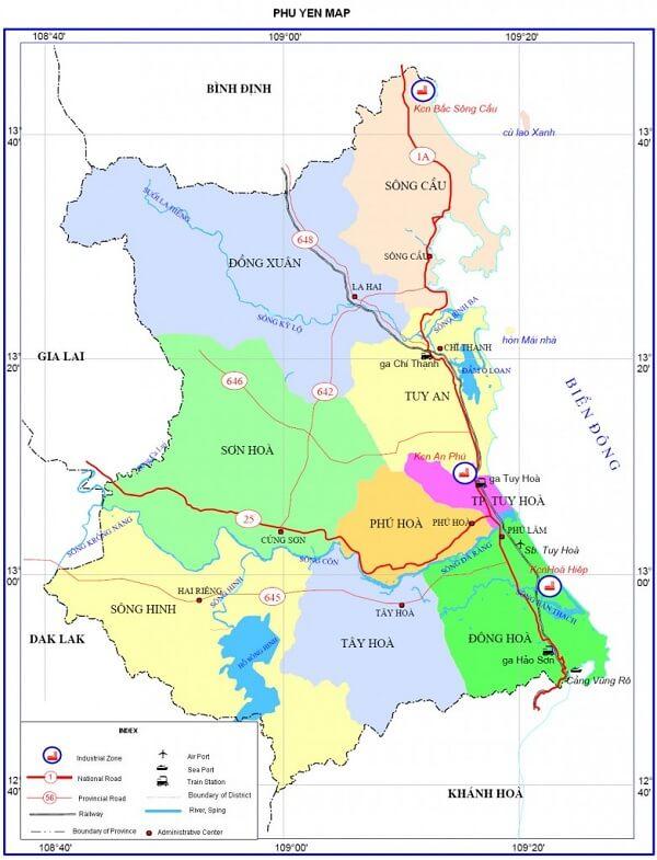 bản đồ hành chính tỉnh phú yên