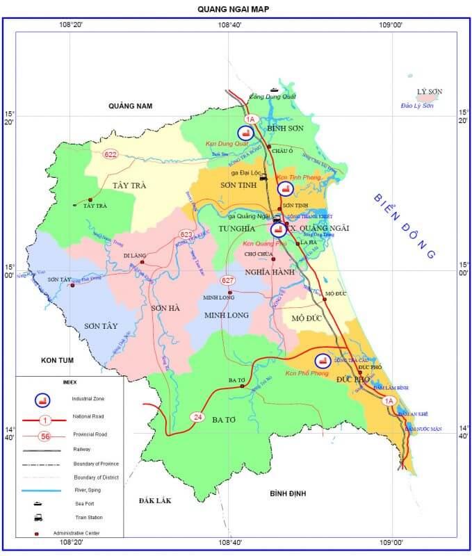 bản đồ hành chính tỉnh quảng ngãi