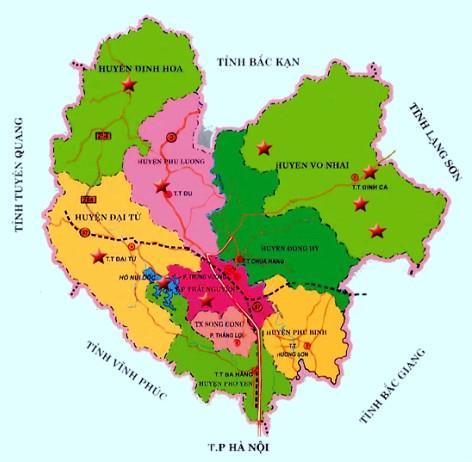 bản đồ du lịch tỉnh thái nguyên
