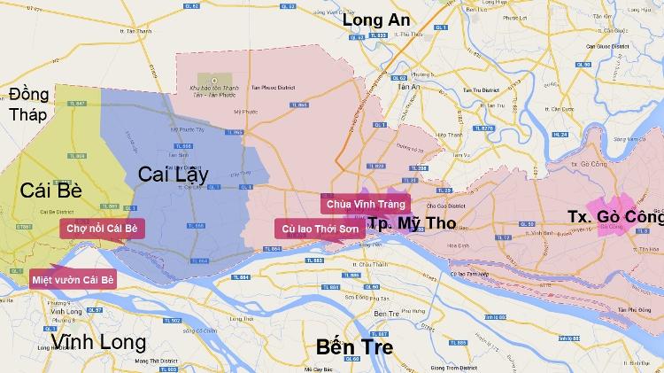 bản đồ du lịch tỉnh tiền giang