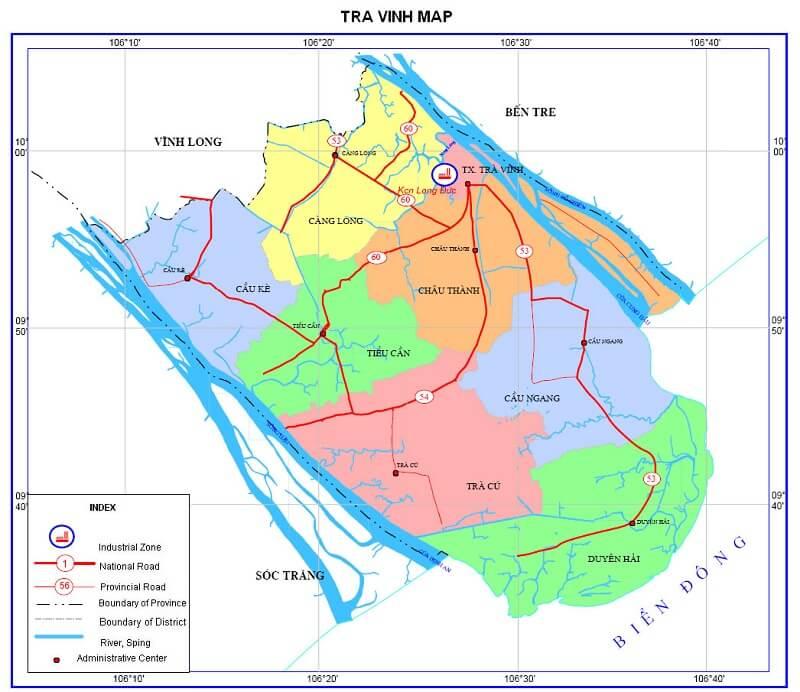 bản đồ hành chính tỉnh Trà vinh