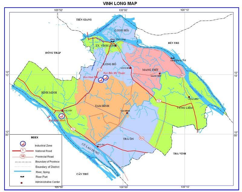 bản đồ hành chính tỉnh vĩnh long